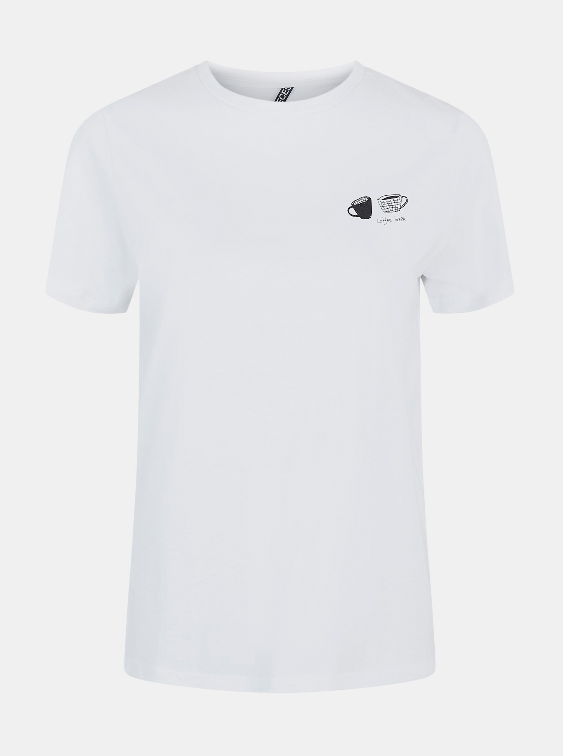 Pieces white women´s T-shirt Liwy with print
