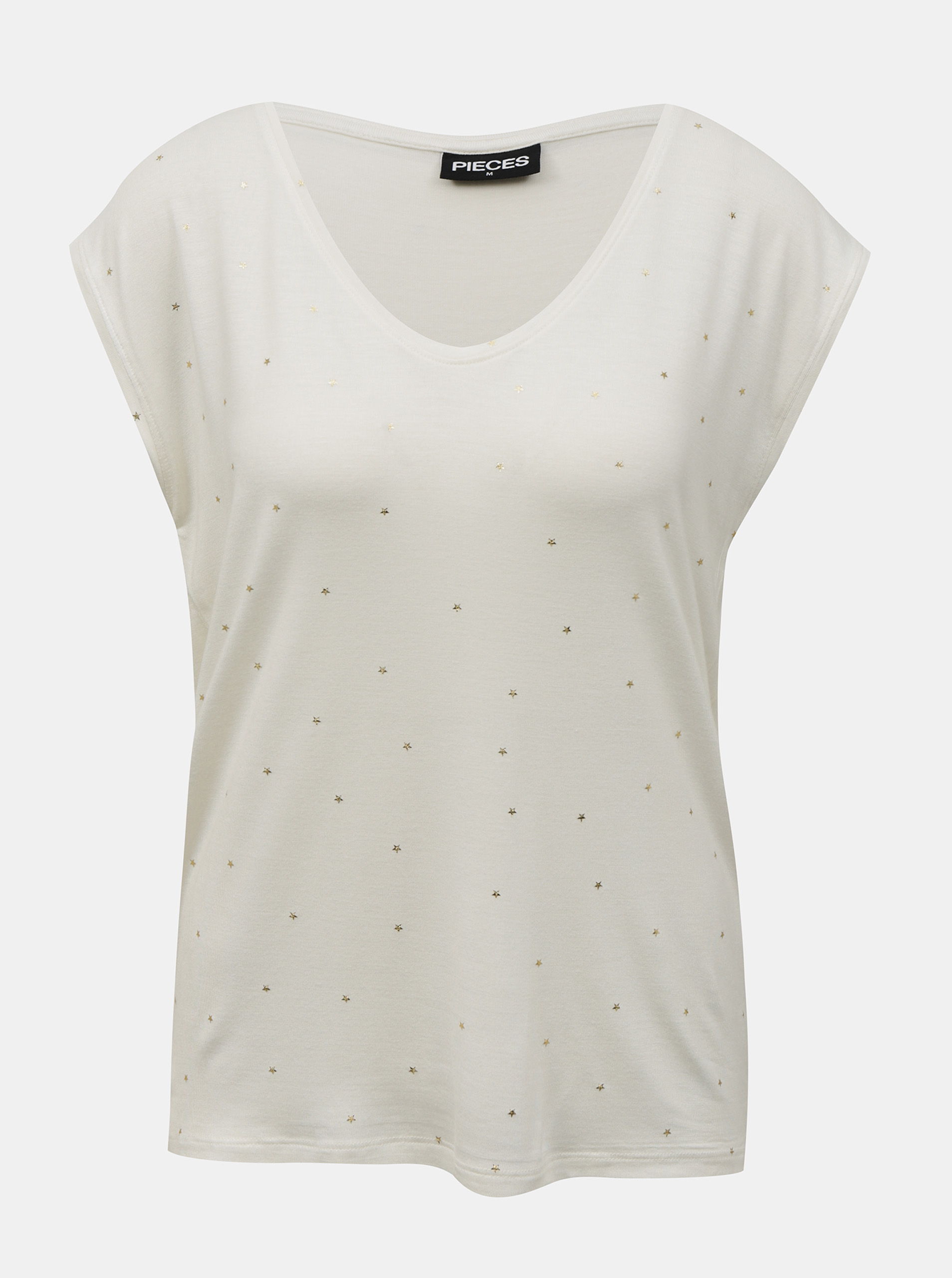 Pieces white women´s T-shirt Milly with pattern
