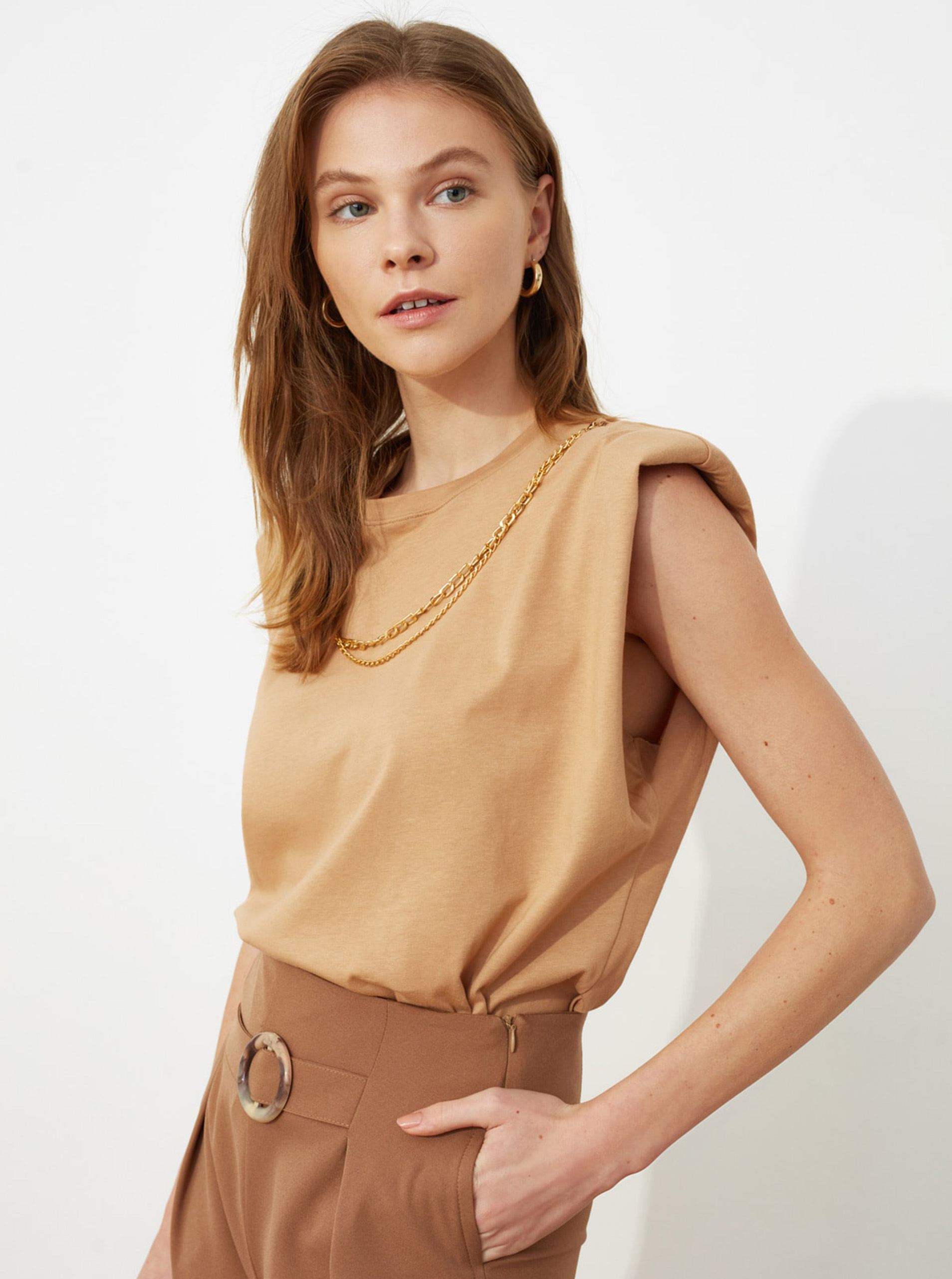 Trendyol brown blouse with shoulder pads