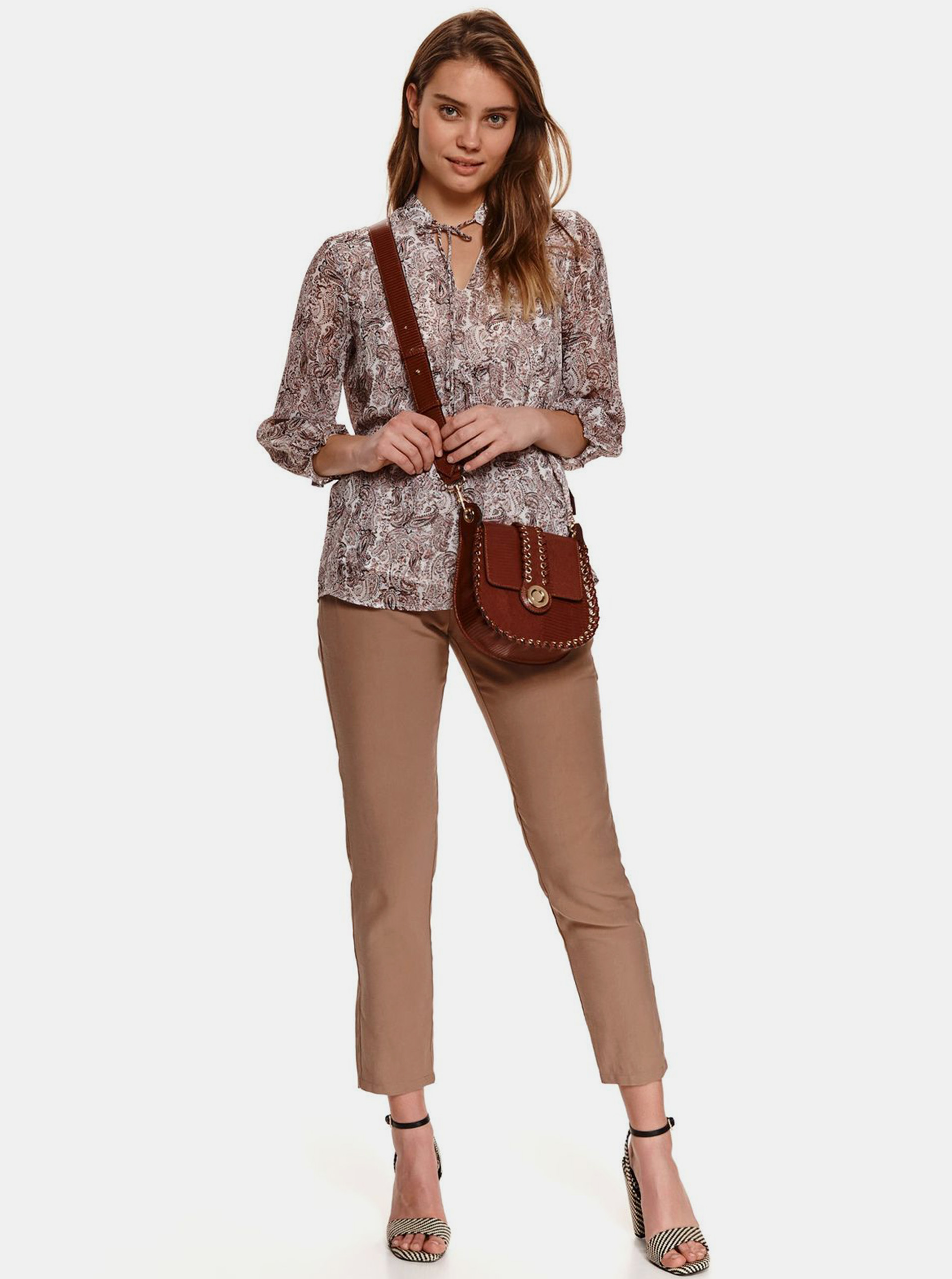 TOP SECRET brown blouse with pattern