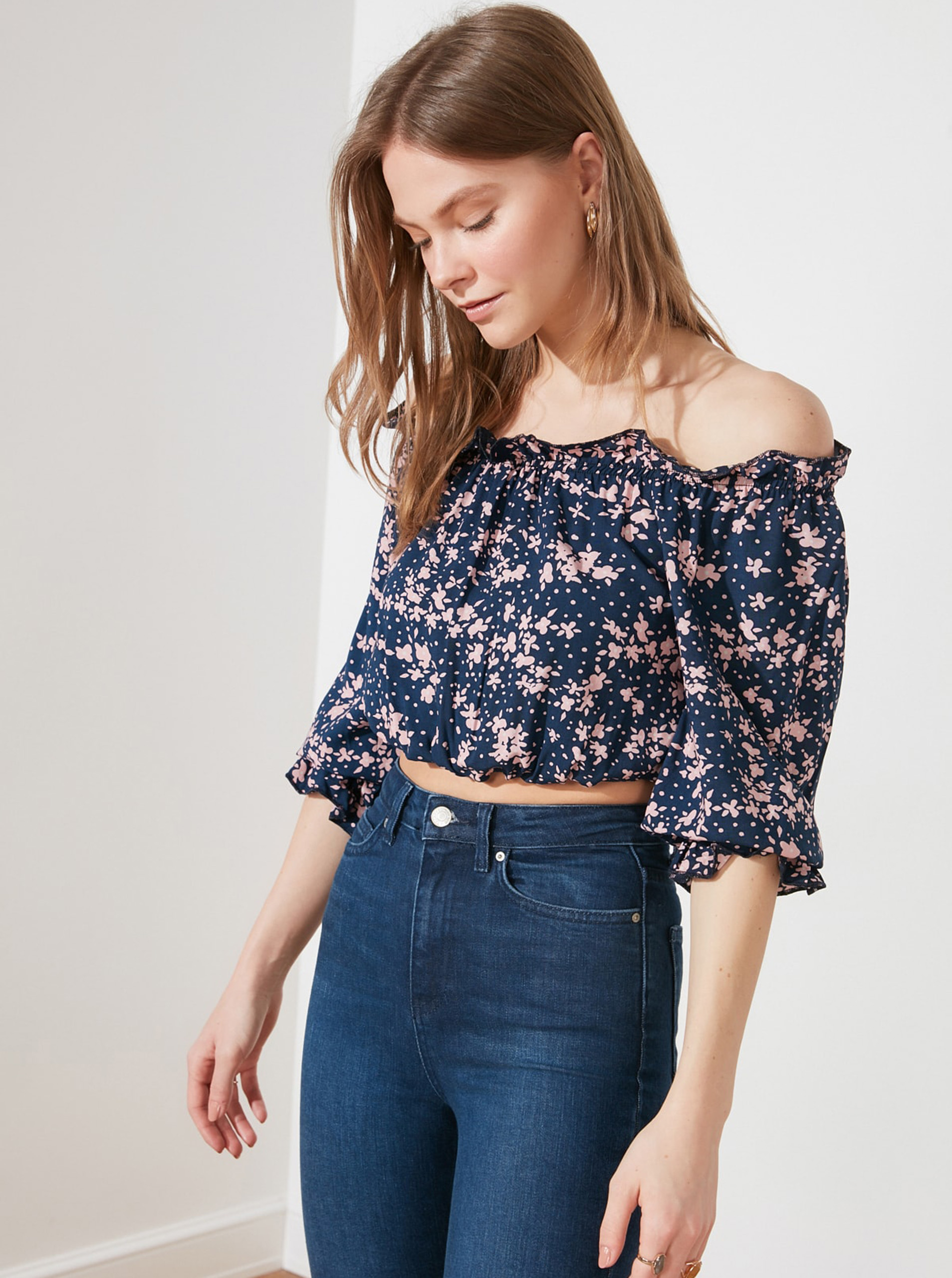 Trendyol blue blouse cropped
