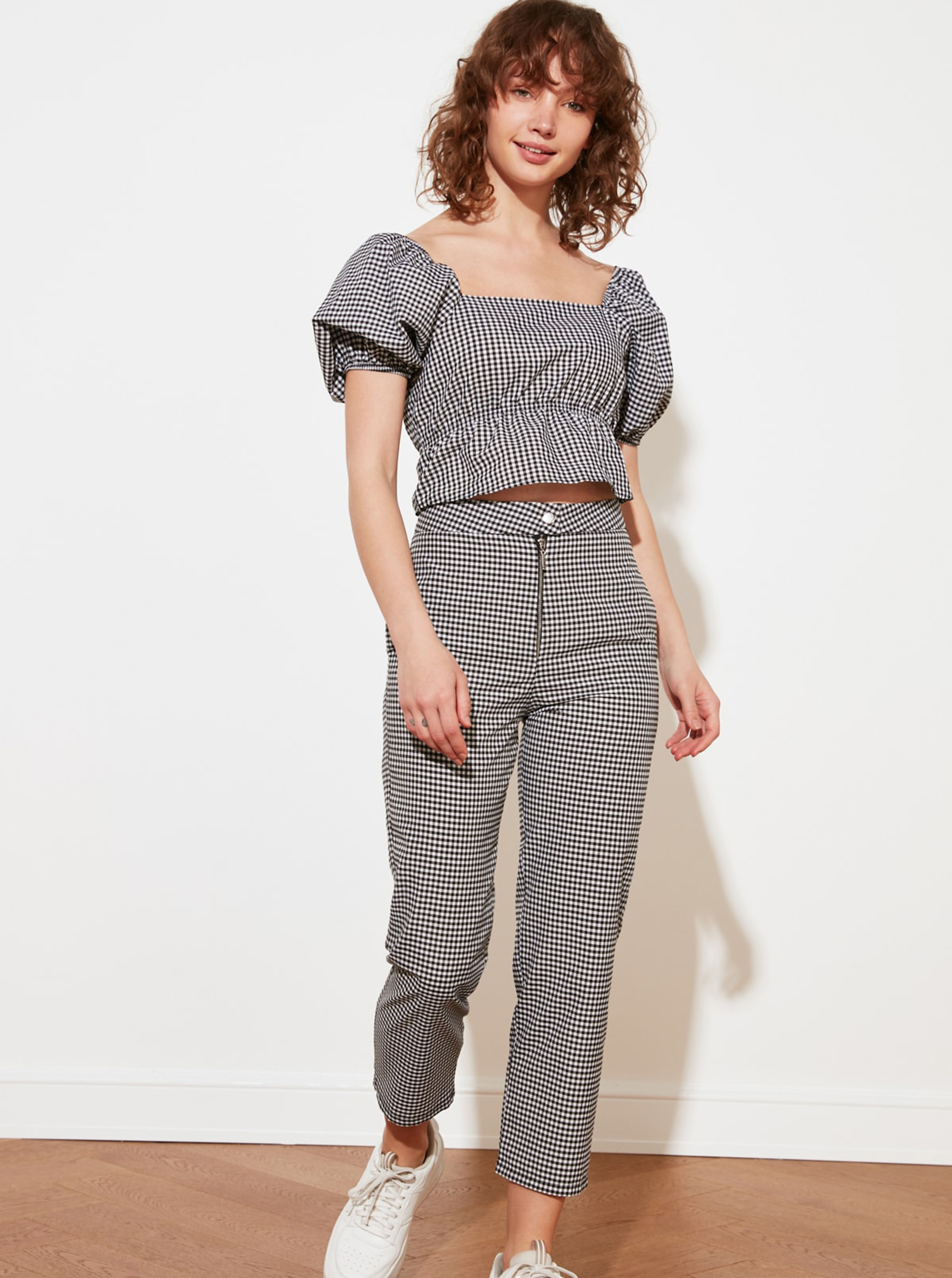 Trendyol grey blouse cropped
