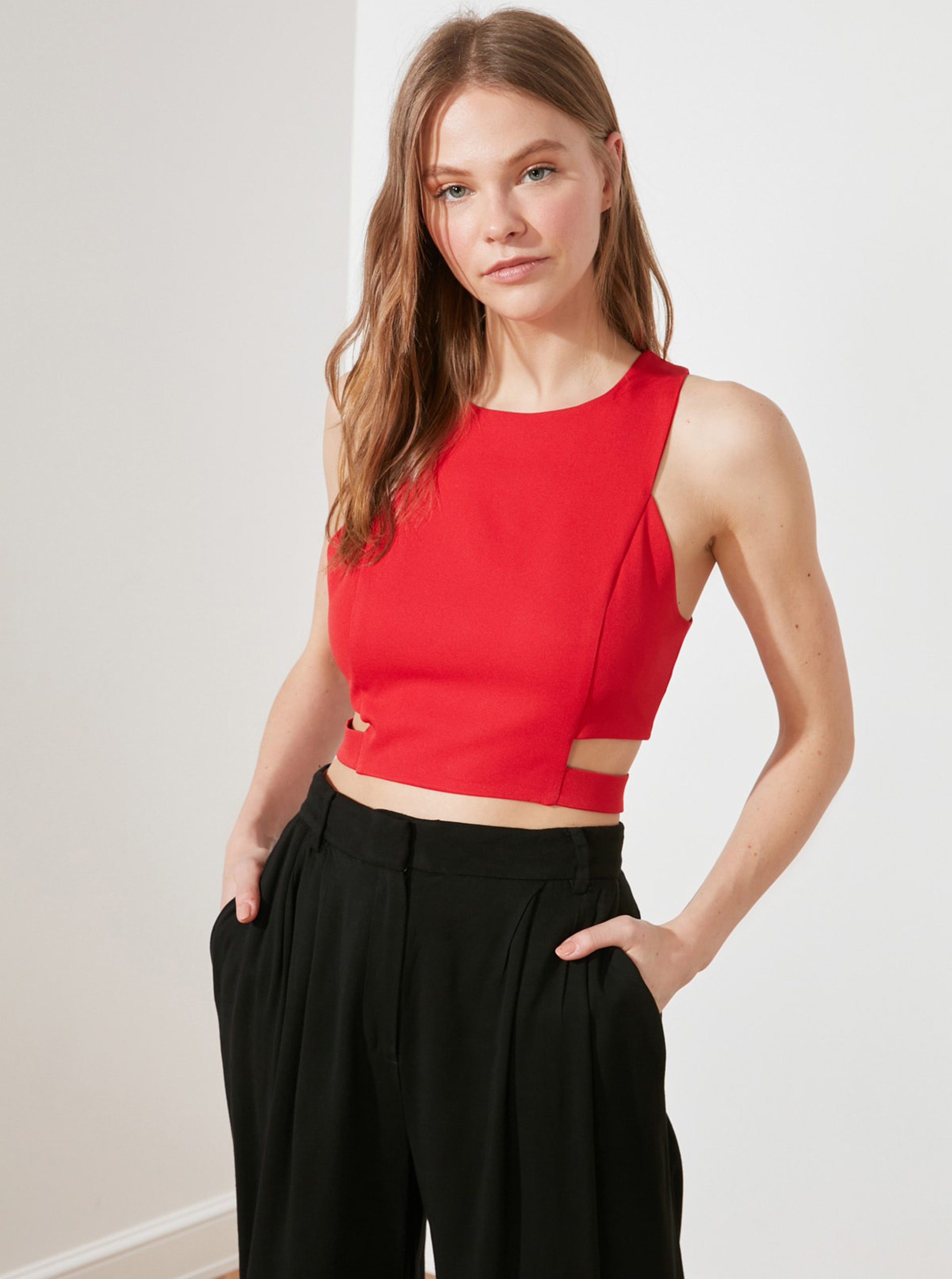 Trendyol red crop top with cutouts