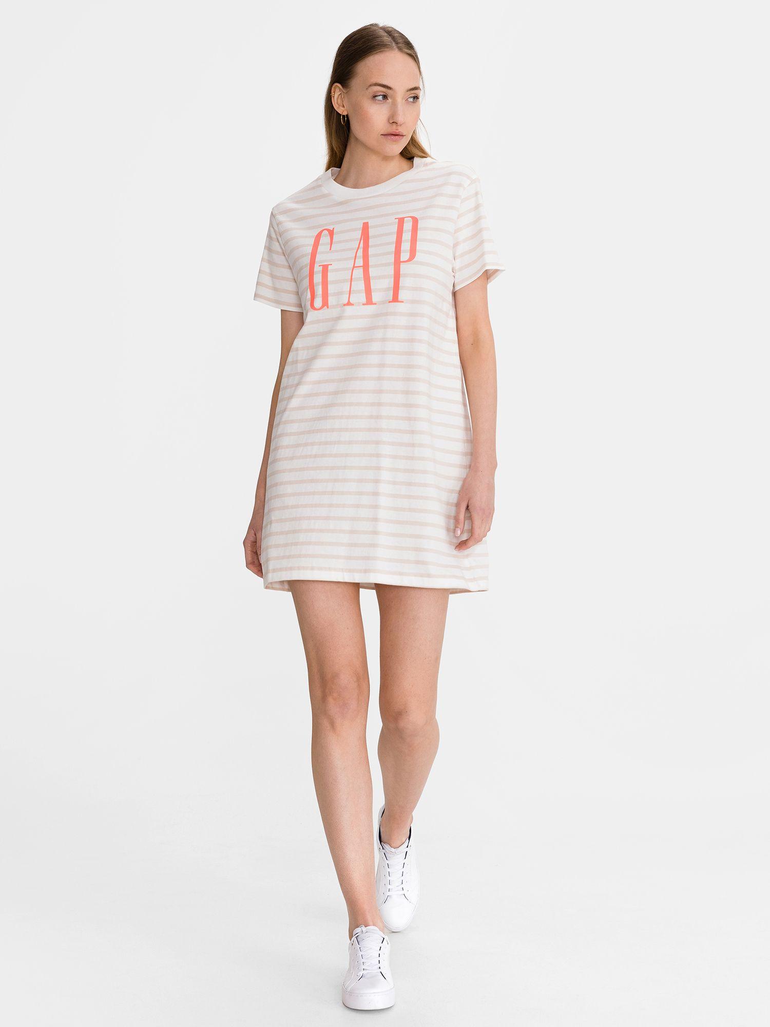 GAP white striped dress Logo T-shirt Dress